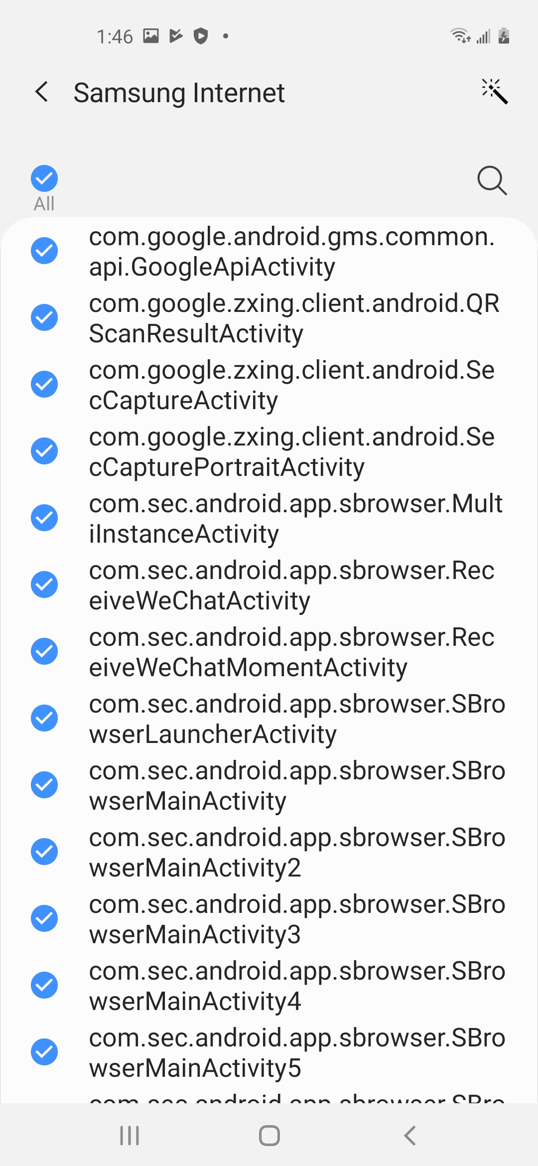 all activities selection from activity list