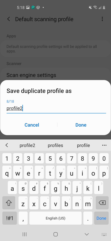 duplicate profile as naming form