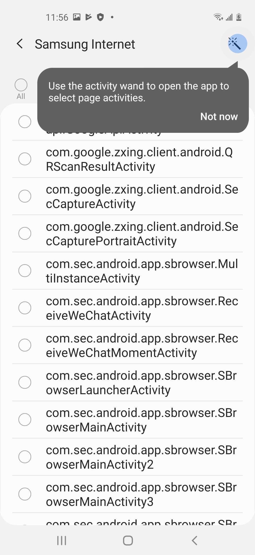 Samsung Internet activities list