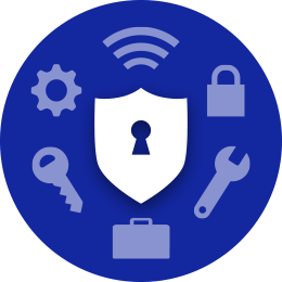 Samsung Knox logo with shield, lock, wrench, briefcase, key, cog, and wireless symbols