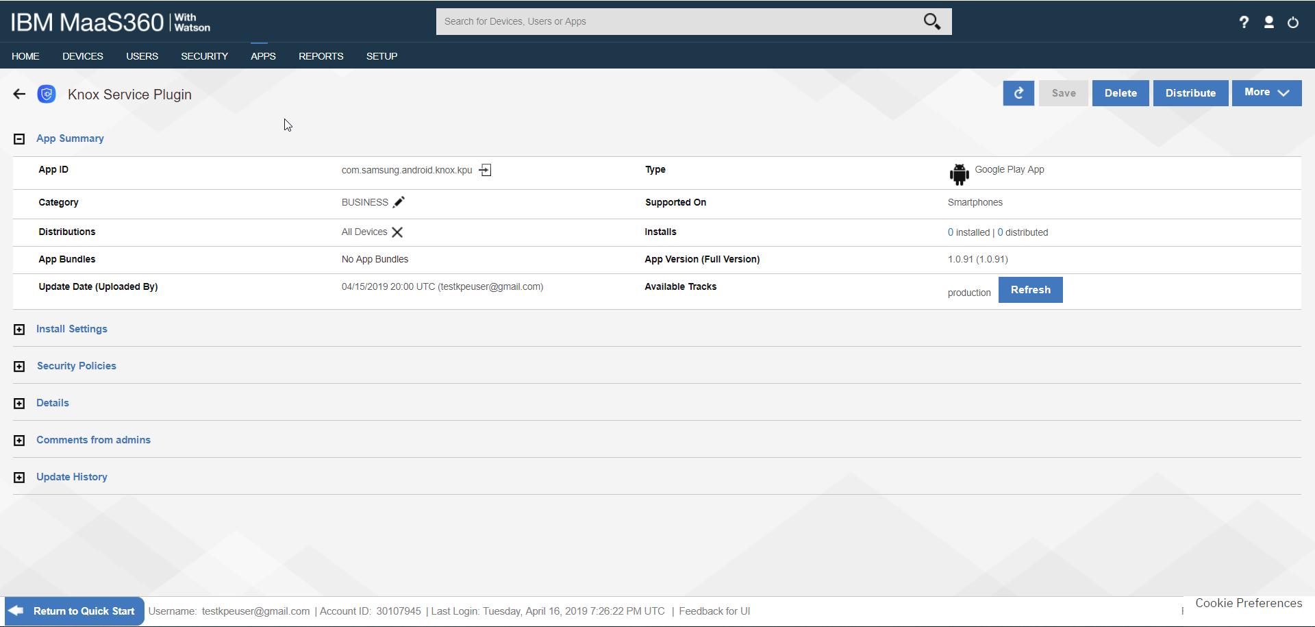 Deploy KSP - IBM MaaS360 App Catalog - KSP Page