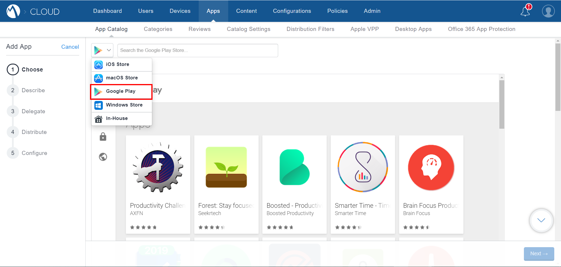 MobileIron Cloud App Catalog - Choose Google Play App page