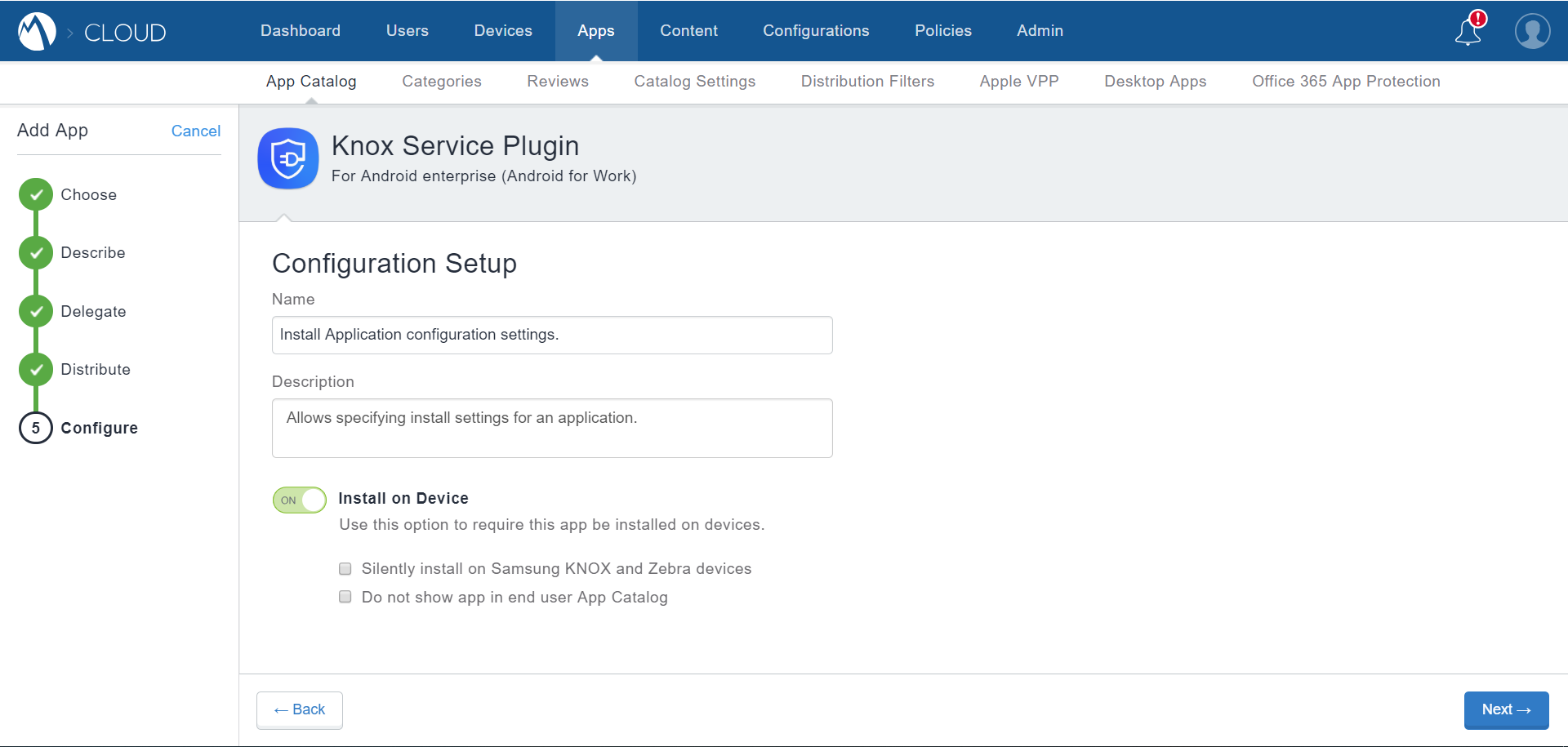 MobileIron Cloud App Catalog - Knox Service Plugin - Installation Configuration settings - mandatory installation options