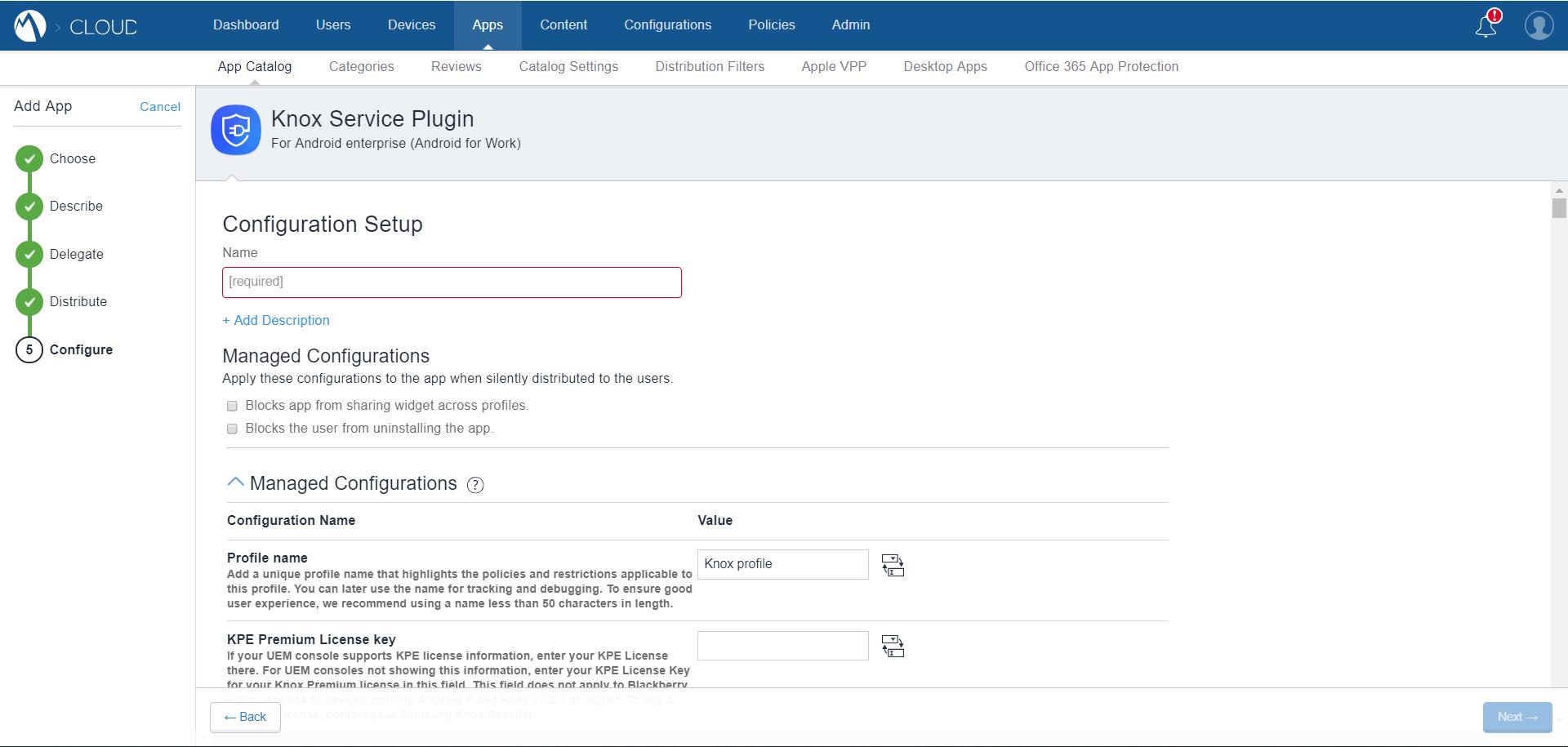MobileIron Cloud App Catalog - Knox Service Plugin - Managed Configurations