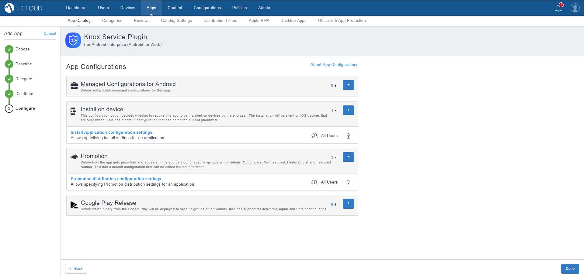 MobileIron Cloud App Catalog - Knox Service Plugin - Configure App page