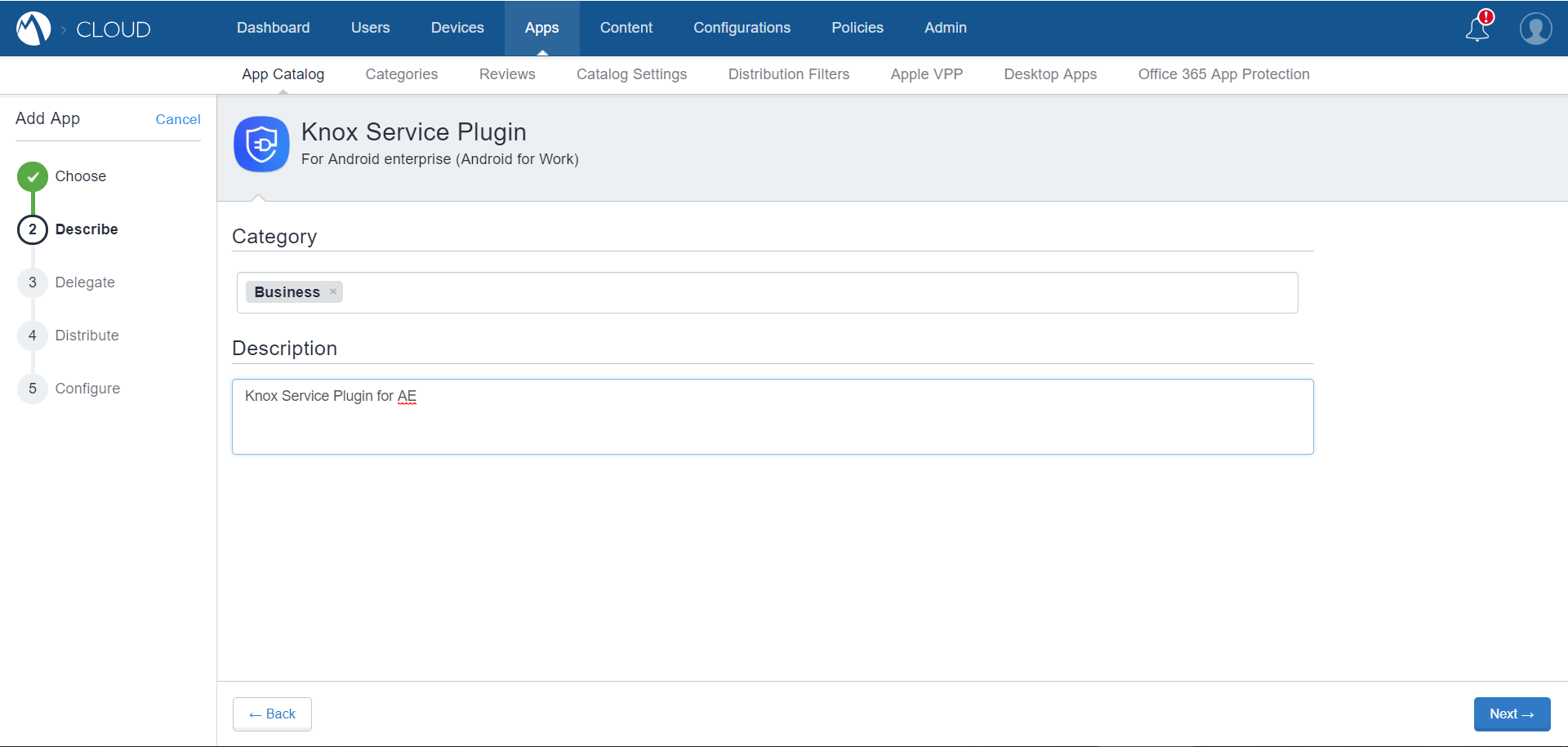 MobileIron Cloud App Catalog - Knox Service Plugin - Describe App page