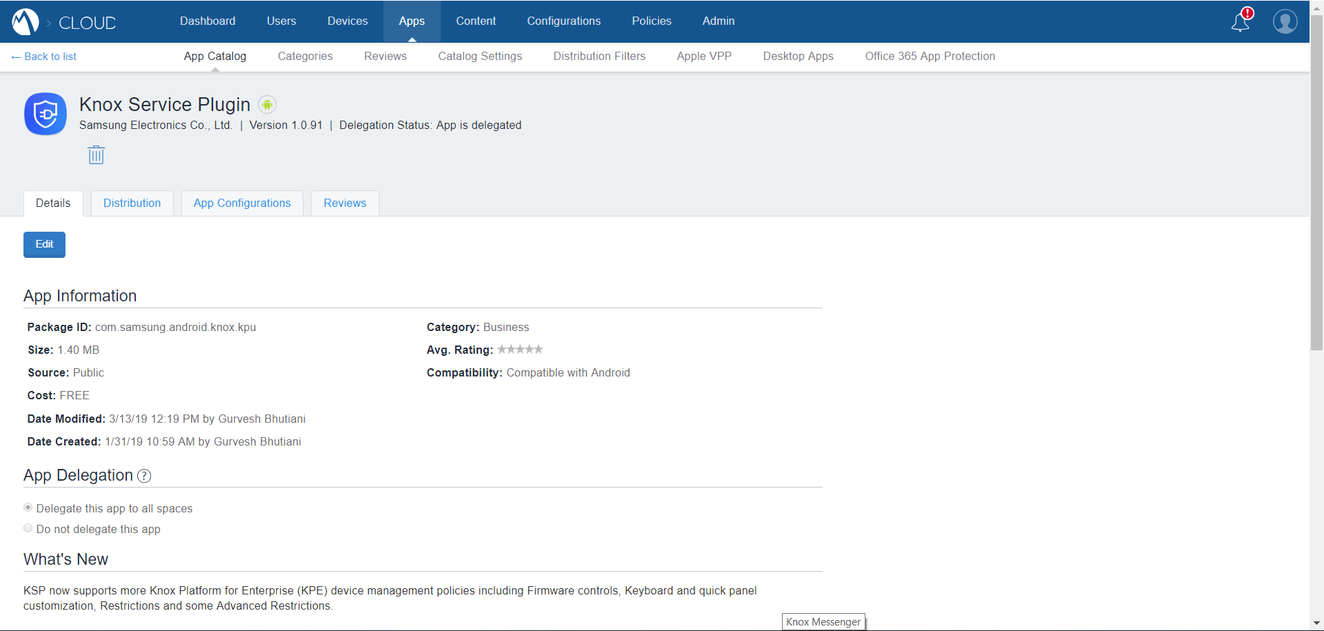 Deploy KSP - MobileIron Cloud App Catalog - KSP Details page