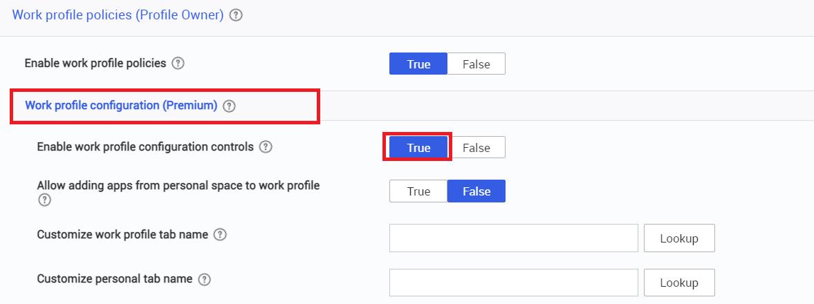 work profile config