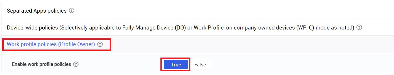 work profile policies