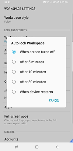 Additional features | Samsung Knox Workspace